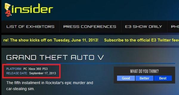 Grand Theft Auto 5 на PC, мероприятие E3 2013